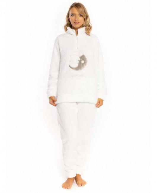 Pigiama donna invernale MIlk and honey pd0813 in pile sherpa bianco