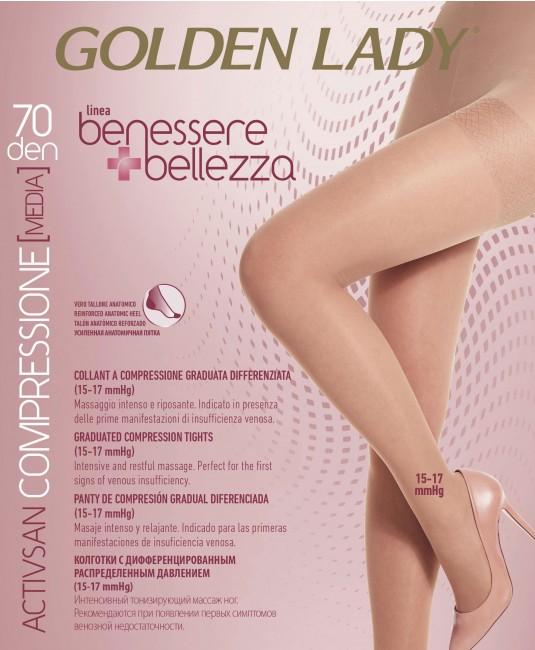 Collant riposante Golden Lady Activsan 70 den compressione graduata media