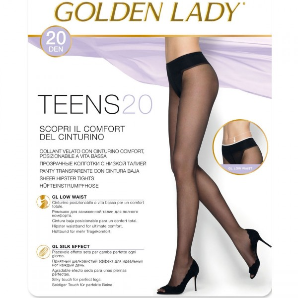Collant vita bassa velato Golden lady teens 20 pack