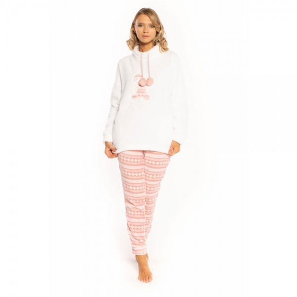 Pigiama donna invernale MIlk and honey pd0816 in pile coral sherpa
