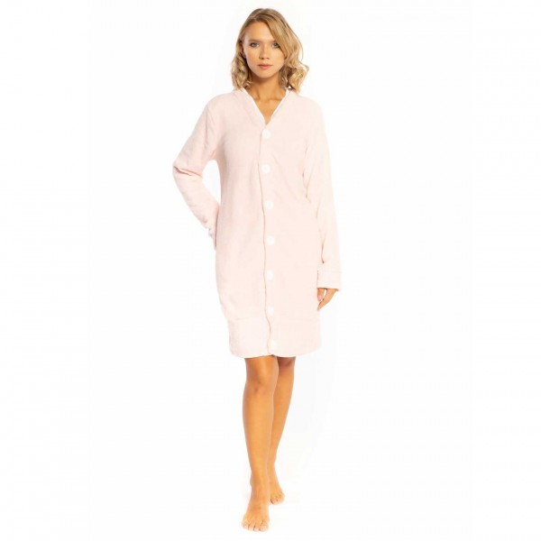 Vestaglia invernale donna Milk and honey ve0261 in caldo pile coral rosa