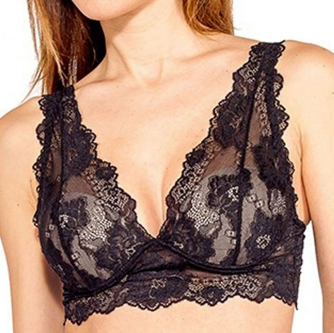 f36f9dd5ee0e8 Reggiseno bralette con ferretto push up a triangolo Lormar Gem in pizzo  nero ...