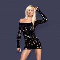 Sexy mini abitino traforato Obsessive rocker dress hot nero