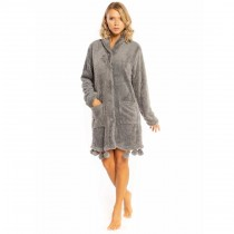 Vestaglia da donna Milk and Honey ve0263 in pile sherpa pon pon grigia