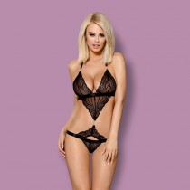 Sexy completino intimo hot Obsessive 828-ted-1 nero pizzo