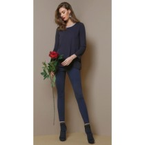 Leggins donna Omsa Private micro gessati blu