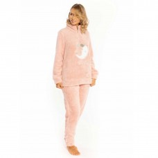 Pigiama donna invernale MIlk and honey pd0813 in pile sherpa rosa