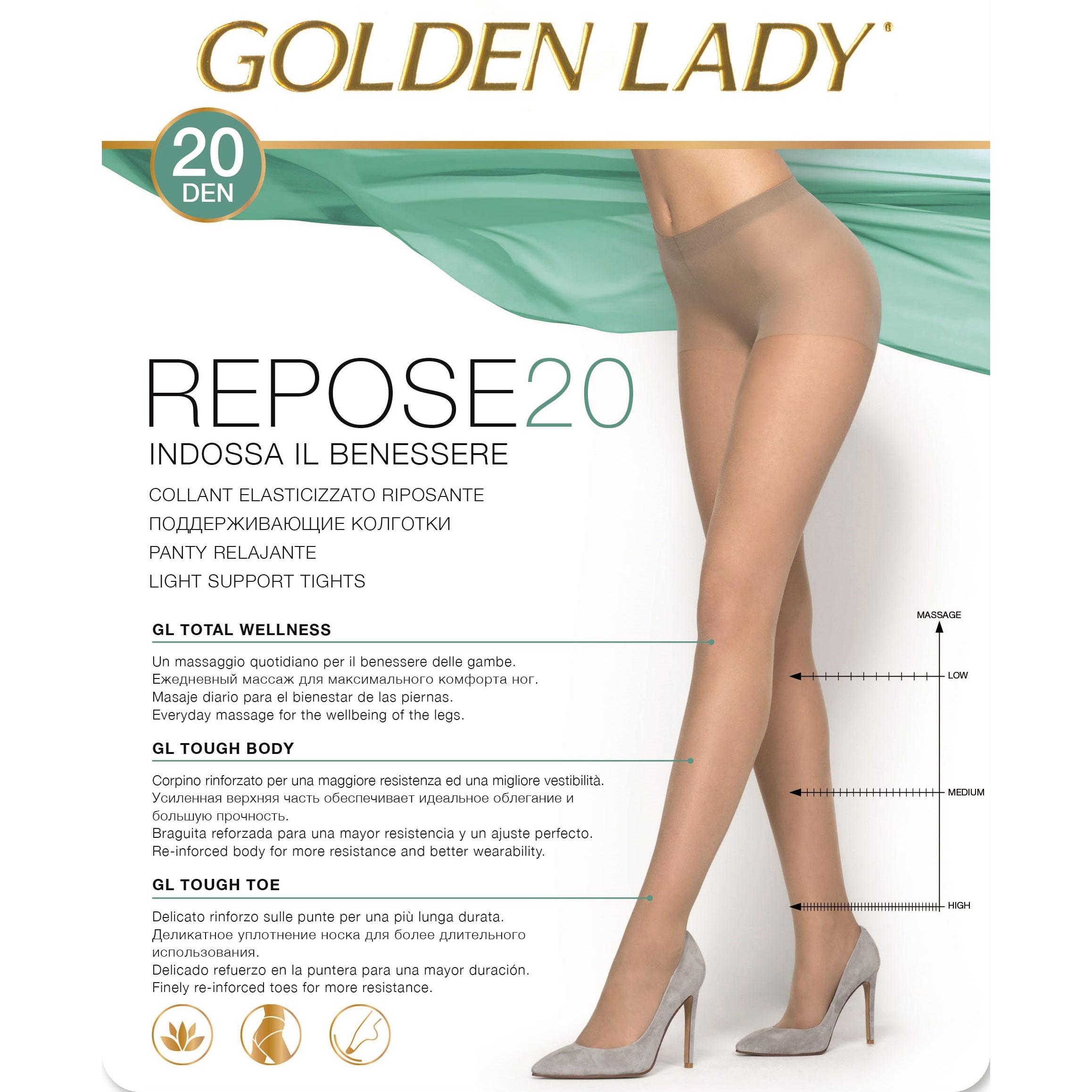 DA 5 PAIA COLLANT GOLDEN LADY REPOSE 20 DENARI EFFETTO RIPOSANTE CONF