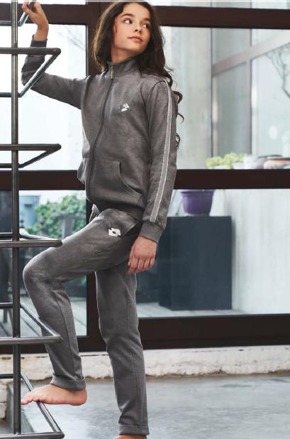 Pigiama tuta bambina Lotto la4501 cotone felpato invernale grigio