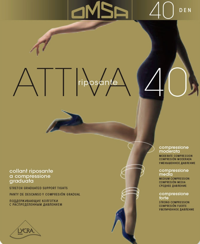 COLLANT DONNA RIPOSANTE A COMPRESIONE GRADUATA 40 DENARI OMSA ATTIVA 40